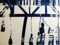 zerstreute Gestalten in einer Flut von blauem Licht, Cyanotypie, A4 gerahmt 40x30